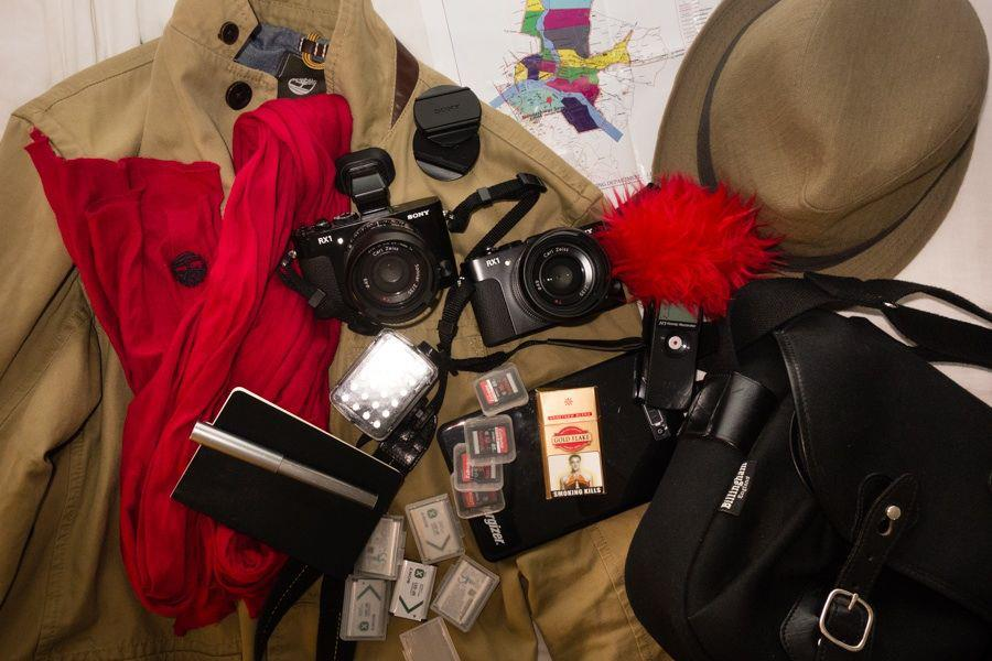 In Our Bag India: Kumbh Mela Map, 2 x Sony RX1, Zoom H1 Recorder, Notebook, Coat, Scarf, Hat, Portable LED Light, Spare Batteries, High Powered Energizer Battery Charger, SD Cards, & Gold Flakes Cigarettes.