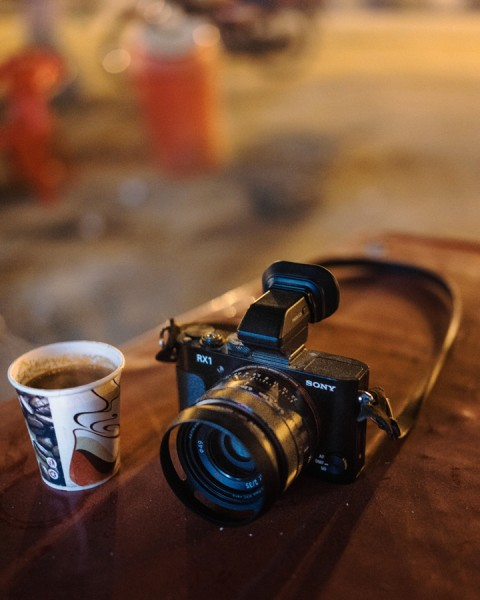 A dusty Sony Cyber-shot RX1 with an even dustier cup of Masala Chai at Maha Kumbh Mela, Allahabad India.