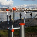 Men fish on the banks of the Golden Horn in Istanbul.