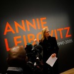Annie Leibovitz at the opening of her exhibition.