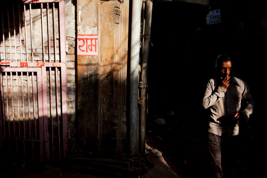 Man in the lane of Pahargang, New Delhi
