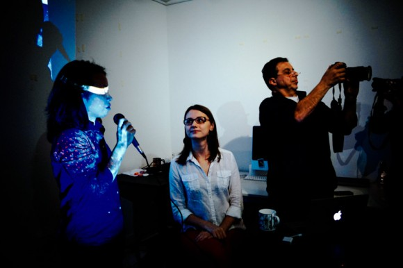 Photographer Sim Chyin, translator Marina Sinitsyna and Gueorgui Pinkhassov at IPA Gallery, Singapore.