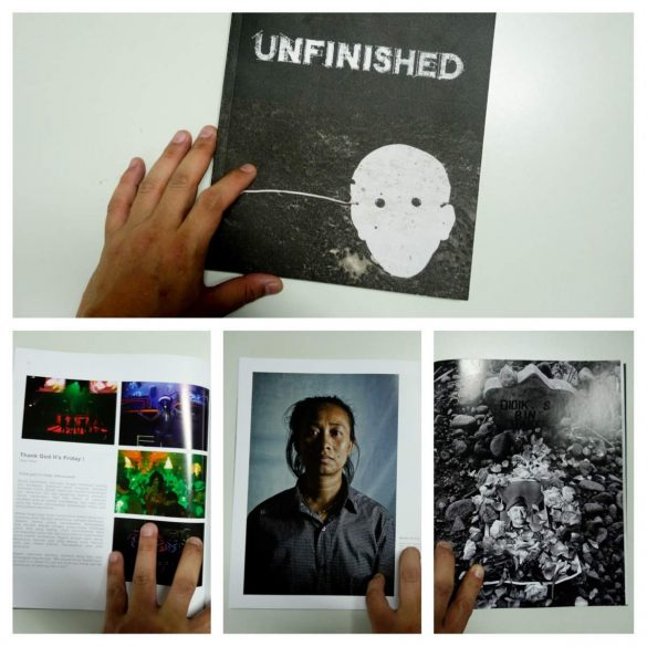 'Unfinished' catalog featuring work from the latest batch of graduates from Galeri Foto Jurnalistik Antara, Indonesia.