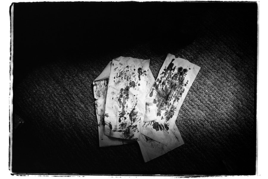 The tissues that Akane wiped her blood after cutting herself. IBASYO, © Kosuke Okahara