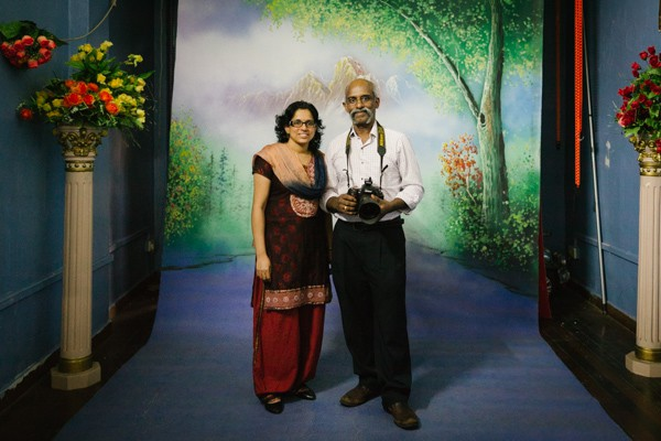 K. Sajeev Lal with his wife Sheeja Shaj at their Digital Photo Studio.