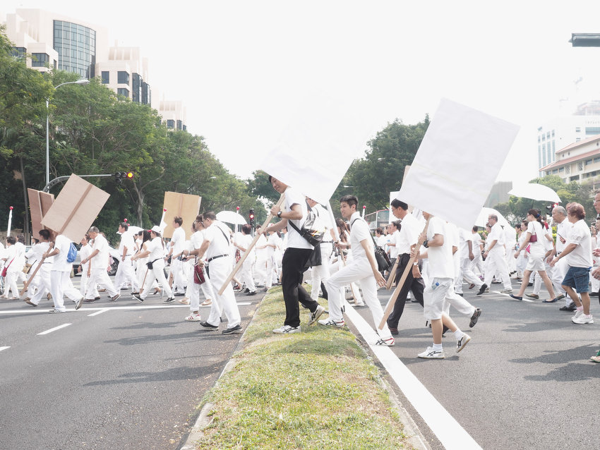 PAP supporters, Singapore Election 2015. Photograph by Sebastian Song.