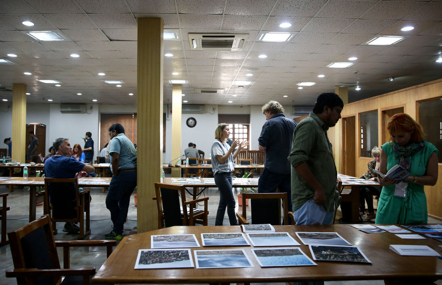 Portfolio reviews at the Delhi Photo Festival 2015. Photograph by Mansi Midha