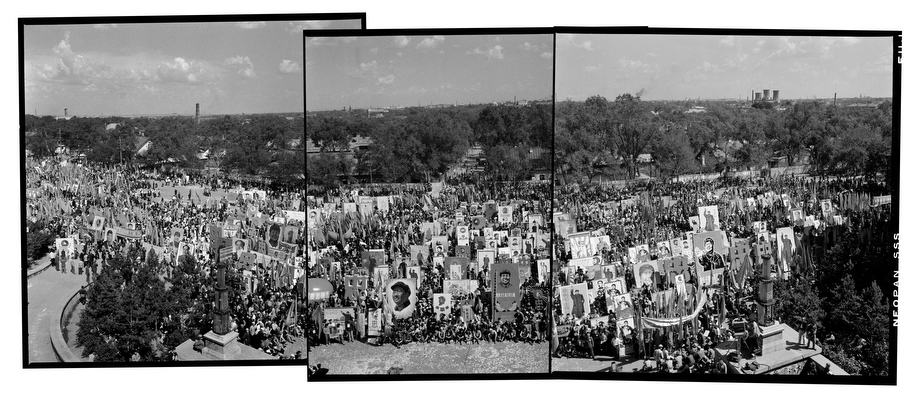 "Hundreds of thousands in front of the North Plaza Center carry self-made Mao Zedong portraits in a show of loyalty to the ""Great Teacher, Great Leader, Great Commander in Chief and Great Helmsman""; Harbin, Heilongjiang Province, June 21, 1968 Modern montage panoramic image is made of three individual images overlapped"