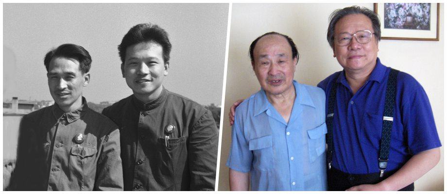Portraits taken in 1968 (L) and 2006 (R) of Li Zhensheng with Li Mingda, who faithfully kept his secret about the hidden negatives.